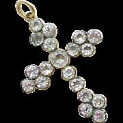 Victorian Large Size Cross Pendant 18K Gold Faux Diamond, Swedish