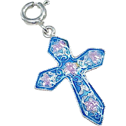 Vintage Cross Charm / Pendant Sterling Silver Guilloche Enamel