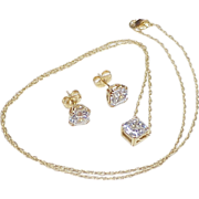 Beautiful Asscher Faceted Faux Diamond  4.75 Carats Total Set 14k Gold, Necklace & Earring