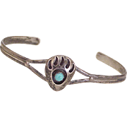 Native American Crafted Bear Claw Bracelet Sterling Silver & Turquoise circa 1970's