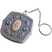 Edwardian Era Dance Compact With Finger Ring, Ornate Jeweled Design
