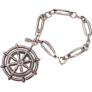 Vintage Danecraft BIG Ship Wheel Charm & Bracelet Sterling Silver 1960's