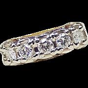 Vintage Diamond .50 ctw VS Band / Ring 14K Two Tone Gold circa 1950-60's