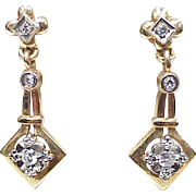 Victorian Revival Diamond Dangle Earrings 14K Two Tone Gold Circa 1950's
