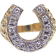 Impressive Vintage DIAMOND Horseshoe Gents Ring .77 ctw 14K Yellow & White Gold ~ Lucky 7-11