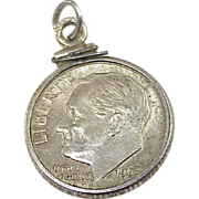 Vintage Coin Sterling Silver Charm ~ Silver Dime In Bezel 1962