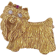 REDUCED Vintage Dog Brooch Yorkie or Maltese 18k Gold Diamond & Ruby Accent