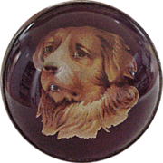 Edwardian Essex Crystal / Glass Dog Portrait Brooch