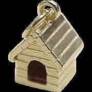 Vintage 14k Gold Dog House Charm, Three Dimensional circa 1950-60's