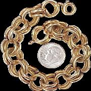 Vintage Chunky Double Link Charm Bracelet 14k Gold, Circa 1950's