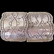 Native American Crafted BIG Hoop Earrings Sterling Silver, Clyde Aguilar