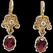 Victorian Revival Ornate Dangle Earrings 14k Gold Garnet & Diamond
