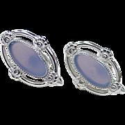 Vintage Screw Back Earrings Sterling Silver & Chalcedony by Tru-Kay 1960's
