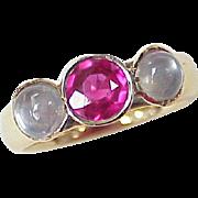 Edwardian Era Gemstone Ring Ruby & Moonstone 14K Gold
