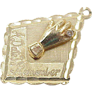 Vintage Jeweled Engagement / Wedding Charm 14k Gold White Spinel Accent circa 1968