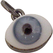 Vintage Evil Eye Protective Amulet Charm Sterling Silver & Glass Taxco circa 1950-60's
