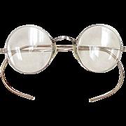 Cool Vintage Round Eyeglasses / Spectacles Silver Tone Metal circa 1930's / John Lennon Style