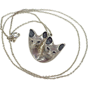 Unique Hand Crafted FOX Animal Pendant / Necklace, Sterling Silver