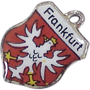 Vintage Travel Charm ~ Frankfurt Germany, Colorful Enamel 800 Silver