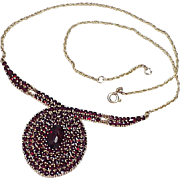 REDUCED Impressive Bohemian Garnet Necklace 14k Gold circa 1970-80's