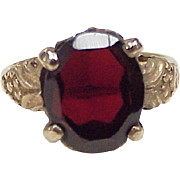SOLD Victorian Revival Garnet Solitaire Ring 10K Gold circa 1930's