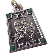 Vintage May / Gemini Charm Sterling Silver Enamel Accent