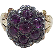 Early Victorian Era Ring Silver Top Ruby &  Diamond 14k Gold Shank
