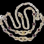REDUCED Vintage GIVENCHY Eternity Necklace & Bracelet Set Gold Tone & Rhinestone
