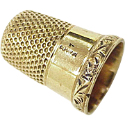Edwardian 14K Gold Sewing Thimble , Size 7 MW&Co