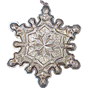 Vintage Sterling Silver Snowflake Ornament by Gorham 1971