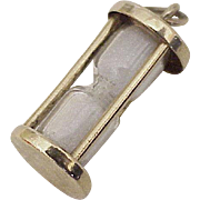 Vintage Working Hour Glass Charm 14k Gold Three Dimensional circa 1950-60's