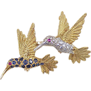 Vintage Jeweled Hummingbird Pin(s) 18k Gold Diamond, Ruby & Sapphire