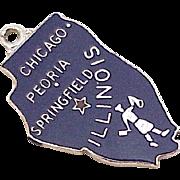 Vintage Sterling Silver U.S. State Charm, Illinois circa 1960's Blue Enamel