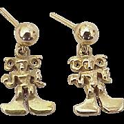 Inca or Mayan Dangle Earrings 14k Gold, Travel Souvenir, Handcrafted