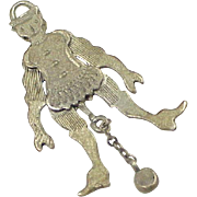 Antique Sterling Silver Mechanical Charm ~ Jumping Jack or Jester