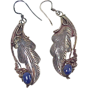 Native American Long Dangle Earrings Sterling Silver & Lapis Lazuli circa 1960's
