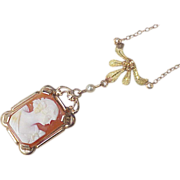 Edwardian Lavaliere Cameo Necklace 10 Gold
