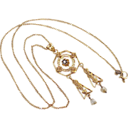 Victorian Lavaliere Necklace / Pendant 14k Gold, Faux Diamond & Fresh Water Pearls