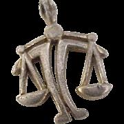 Vintage Zodiac, Libra Charm Sterling Silver Three Dimensional circa 1960's