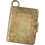 Victorian Book Style Locket Charm / Pendant 10k Gold