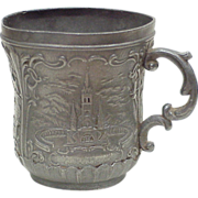 REDUCED Antique Art Nouveau Pewter Cup, Travel Souvenir Notre-Dame De Lourdes France