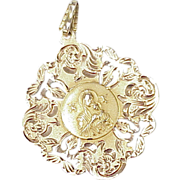 Beautiful Religious Charm / Pendant 14k Gold ~ Madonna With Child, Pierced Border Hand Engrave