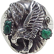 Vintage Native American EAGLE Ring Sterling Silver With Malachite Accent circa 1980's