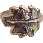 Vintage Hand Crafted Ring Sterling Silver & Abalone, Mexico circa 1970's