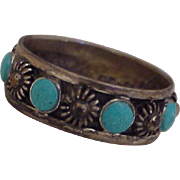 Vintage Mexico Handcrafted Ring Sterling Silver & Turquoise circa 1970's