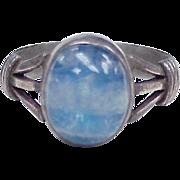 Edwardian Natural Moonstone Ring Sterling Silver