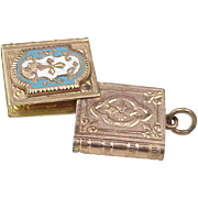 Victorian Era Mourning Locket Charm, Book / Bible Gold Filled Enameled Accent