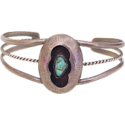 Vintage Native American Cuff Bracelet Sterling Silver & Turquoise circa 1970's