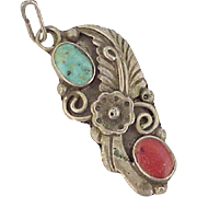 Vintage Native American Pendant Sterling Silver Turquoise & Red Coral circa 1970's