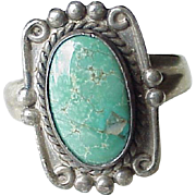 Vintage Native American Ring Sterling Silver & Turquoise circa 1970's Bell Trading